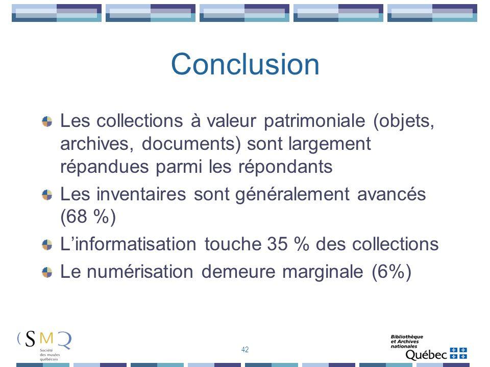 Conclusion Les collections à valeur patrimoniale (objets, archives, documents) sont largement répandues parmi les répondants Les inventaires sont géné