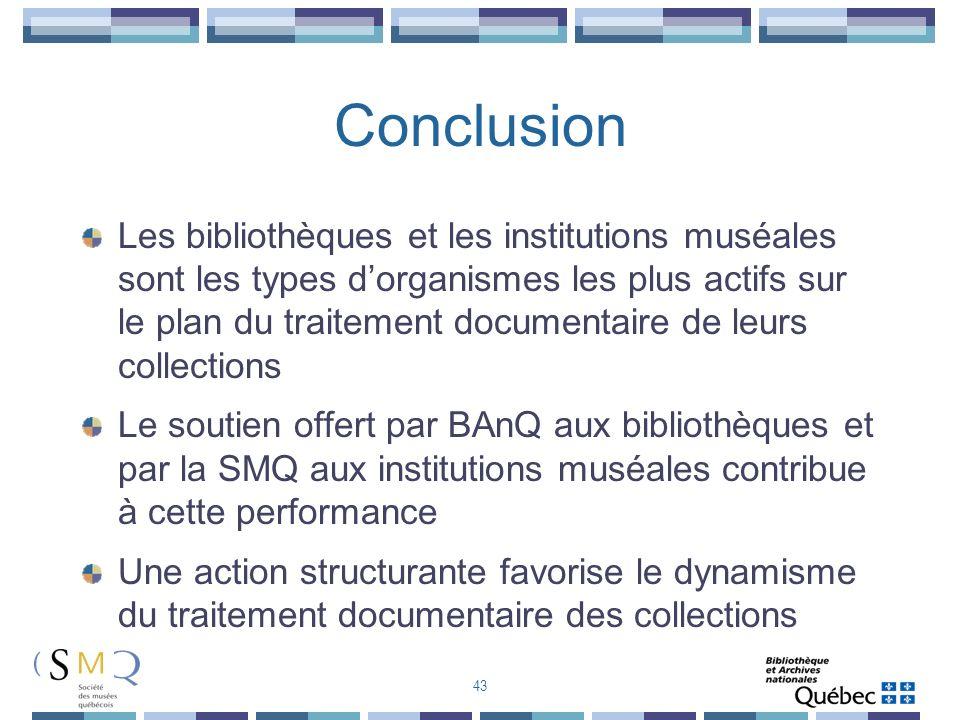 Conclusion Les bibliothèques et les institutions muséales sont les types dorganismes les plus actifs sur le plan du traitement documentaire de leurs c