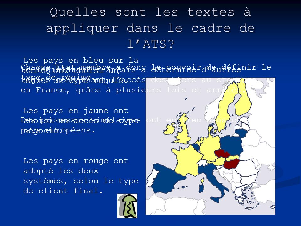 Quelles sont les textes à appliquer dans le cadre de lATS? Chaque Etat membre a donc le pouvoir de définir le type de régime. Les pays en bleu sur la