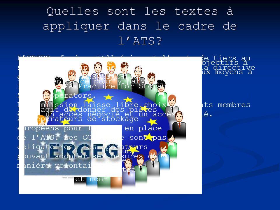 Quelles sont les textes à appliquer dans le cadre de lATS? Le texte fondamental régissant laccès de tiers au stockage en Europe est lArticle 19 de la
