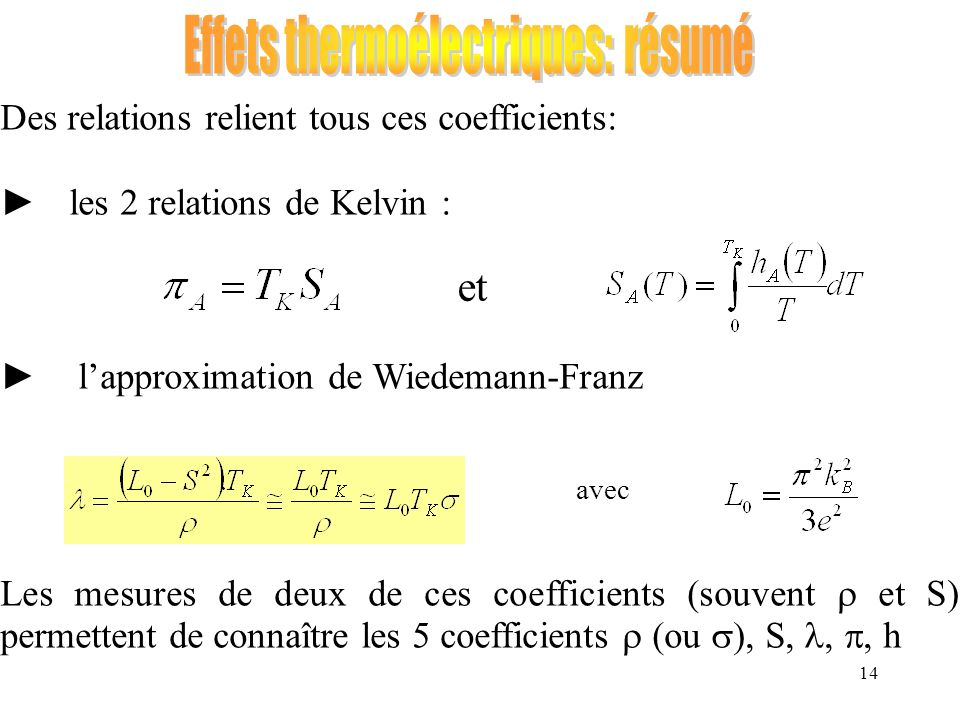 14 Des relations relient tous ces coefficients: les 2 relations de Kelvin : lapproximation de Wiedemann-Franz Les mesures de deux de ces coefficients