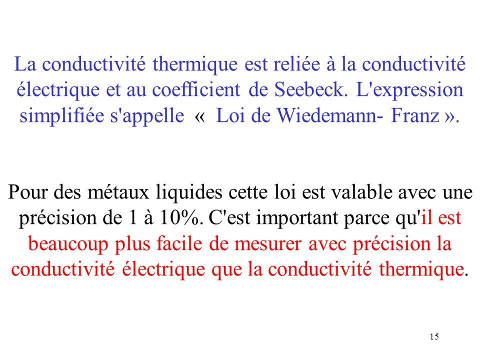 15 La conductivité thermique est reliée à la conductivité électrique et au coefficient de Seebeck. L'expression simplifiée s'appelle « Loi de Wiedeman