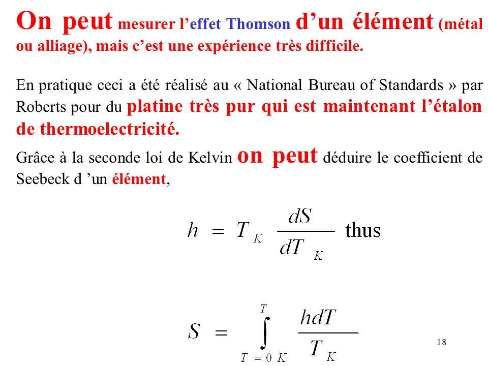 18 On peut mesurer leffet Thomson dun élément (métal ou alliage), mais cest une expérience très difficile. En pratique ceci a été réalisé au « Nationa