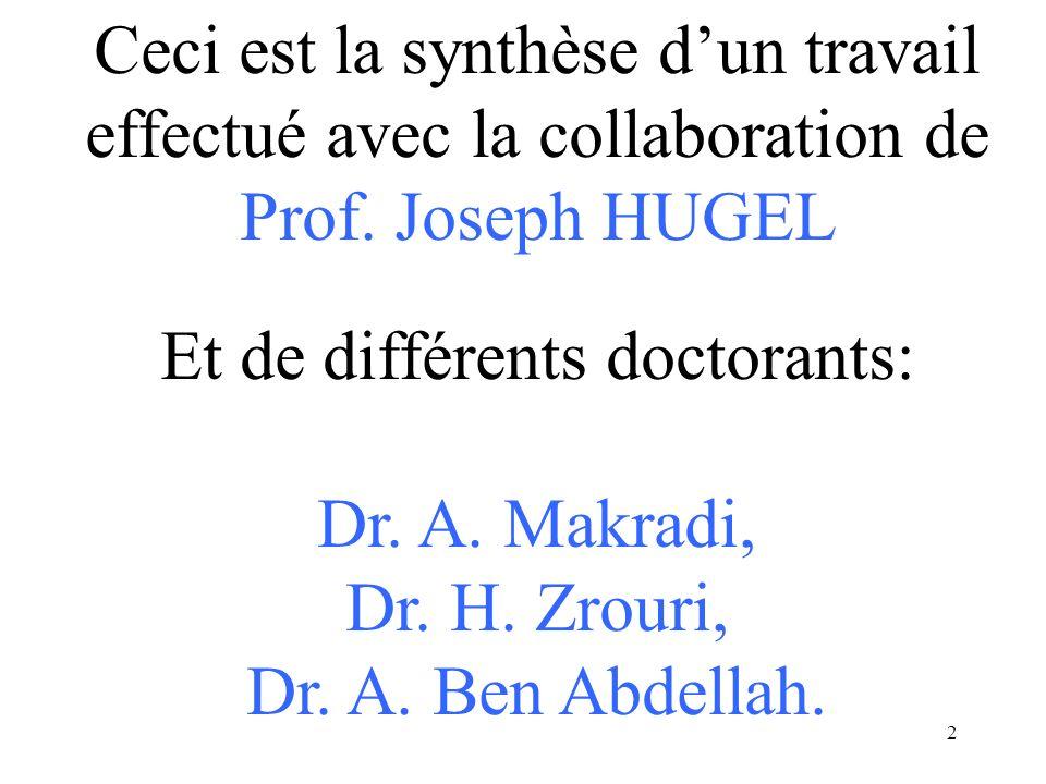 2 Ceci est la synthèse dun travail effectué avec la collaboration de Prof. Joseph HUGEL Et de différents doctorants: Dr. A. Makradi, Dr. H. Zrouri, Dr