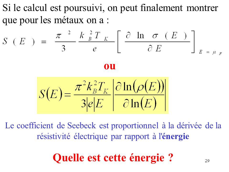 29 Si le calcul est poursuivi, on peut finalement montrer que pour les métaux on a : ou Le coefficient de Seebeck est proportionnel à la dérivée de la