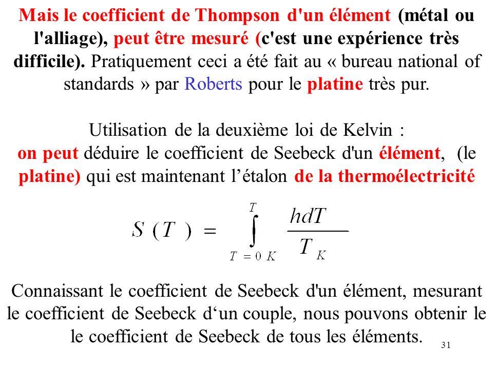 31 Mais le coefficient de Thompson d'un élément (métal ou l'alliage), peut être mesuré (c'est une expérience très difficile). Pratiquement ceci a été