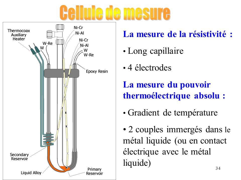 34 La mesure de la résistivité : Long capillaire 4 électrodes La mesure du pouvoir thermoélectrique absolu : Gradient de température 2 couples immergé
