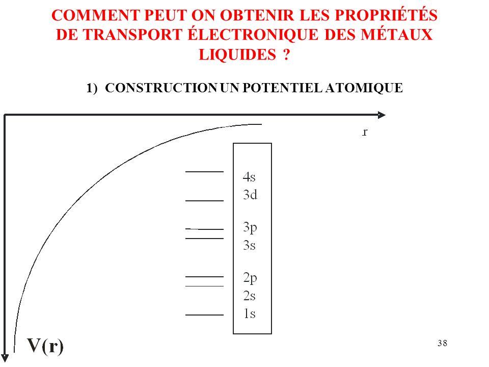 38 COMMENT PEUT ON OBTENIR LES PROPRIÉTÉS DE TRANSPORT ÉLECTRONIQUE DES MÉTAUX LIQUIDES ? 1) CONSTRUCTION UN POTENTIEL ATOMIQUE