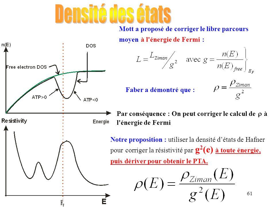 61 Mott a proposé de corriger le libre parcours moyen à l'énergie de Fermi : Faber a démontré que : Par conséquence : On peut corriger le calcul de à