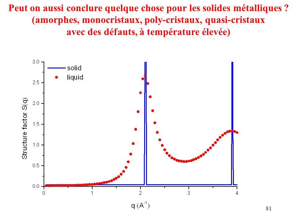 81 Peut on aussi conclure quelque chose pour les solides métalliques ? (amorphes, monocristaux, poly-cristaux, quasi-cristaux avec des défauts, à temp