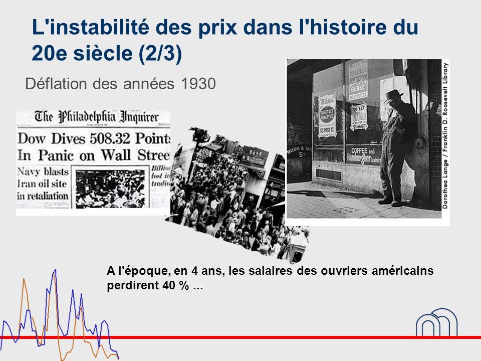 L'instabilité des prix dans l'histoire du 20e siècle (2/3) Déflation des années 1930 A l'époque, en 4 ans, les salaires des ouvriers américains perdir