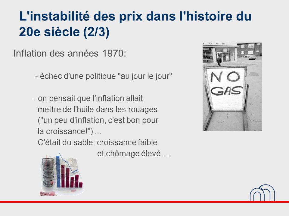 L'instabilité des prix dans l'histoire du 20e siècle (2/3) Inflation des années 1970: - échec d'une politique