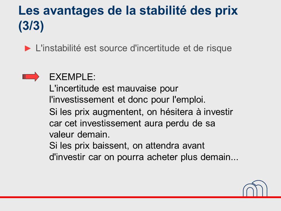 L'instabilité est source d'incertitude et de risque EXEMPLE: L'incertitude est mauvaise pour l'investissement et donc pour l'emploi. Si les prix augme