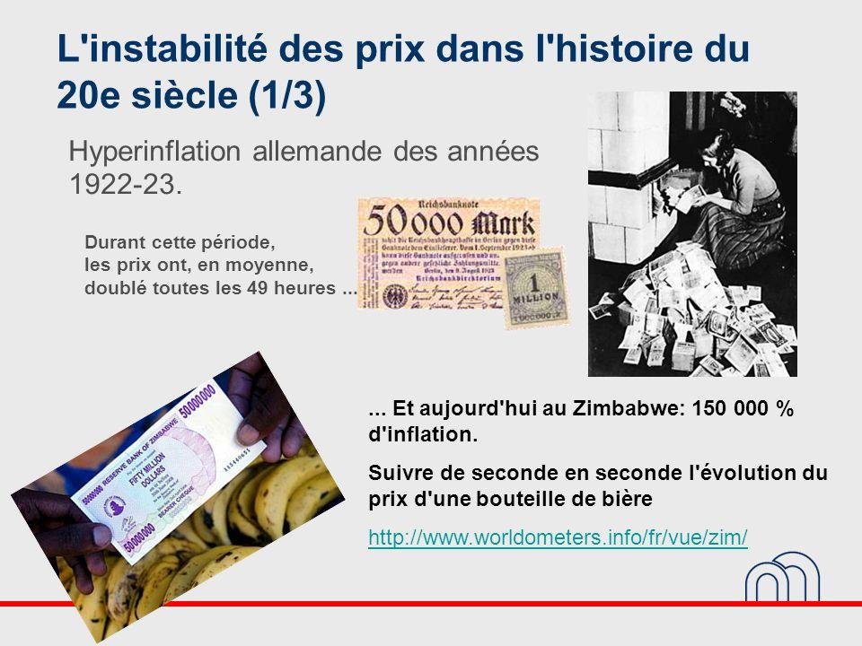 L'instabilité des prix dans l'histoire du 20e siècle (1/3) Hyperinflation allemande des années 1922-23.... Et aujourd'hui au Zimbabwe: 150 000 % d'inf
