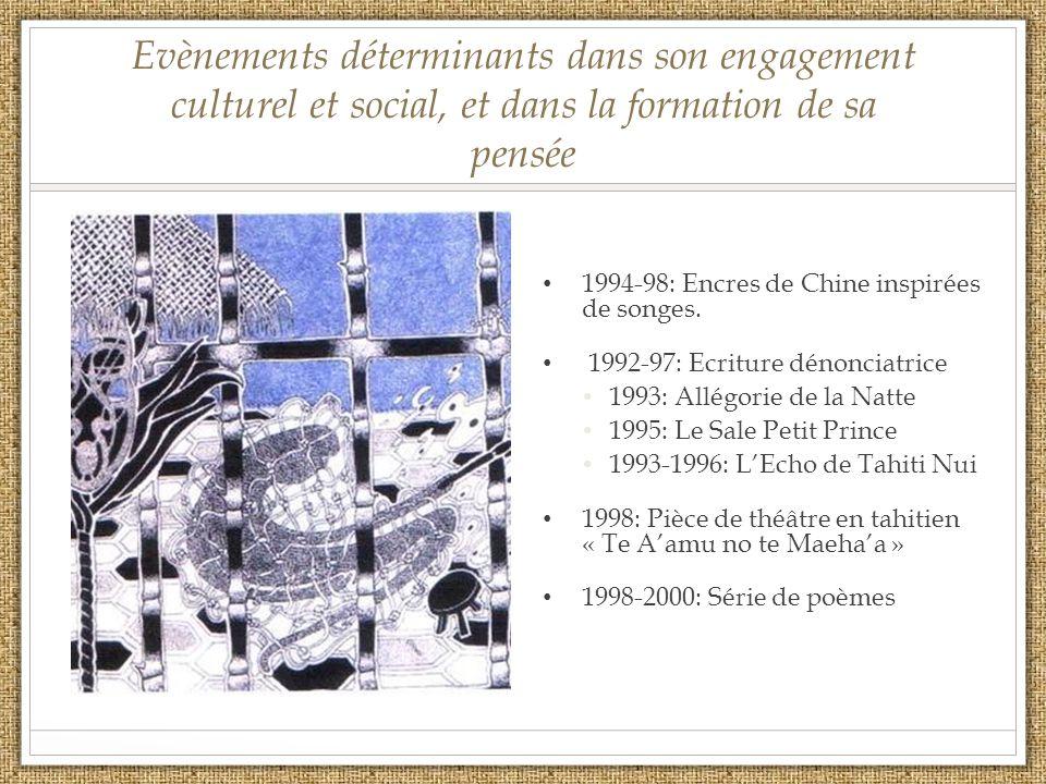 Evènements déterminants dans son engagement culturel et social, et dans la formation de sa pensée 1994-98: Encres de Chine inspirées de songes.
