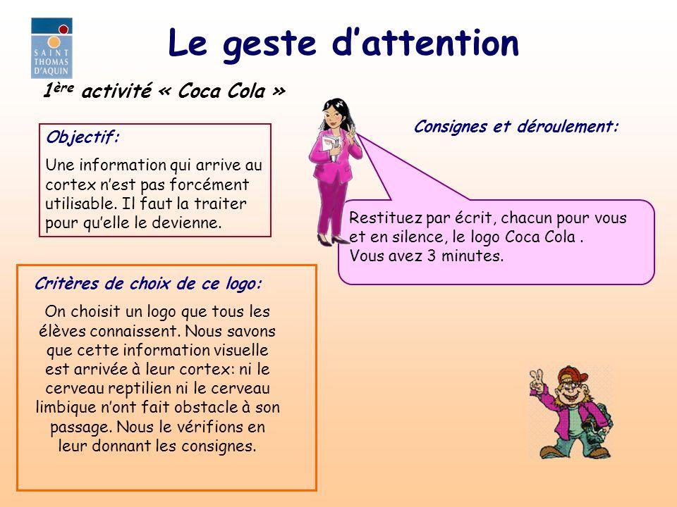Le geste dattention Consignes et déroulement: 1 ère activité « Coca Cola » Objectif: Une information qui arrive au cortex nest pas forcément utilisabl