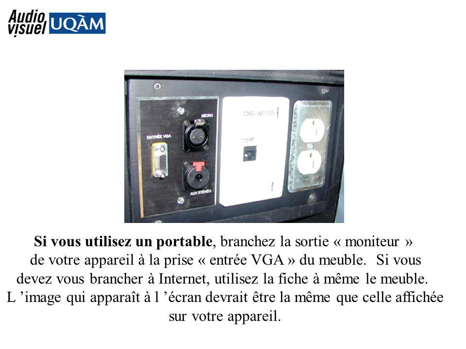 Si vous utilisez un portable, branchez la sortie « moniteur » de votre appareil à la prise « entrée VGA » du meuble.