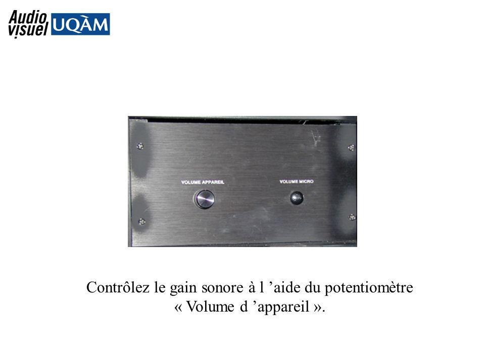 Contrôlez le gain sonore à l aide du potentiomètre « Volume d appareil ».