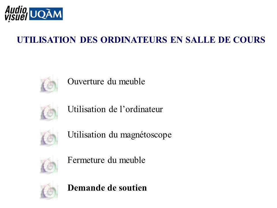 UTILISATION DES ORDINATEURS EN SALLE DE COURS Ouverture du meuble Utilisation de lordinateur Utilisation du magnétoscope Fermeture du meuble Demande de soutien