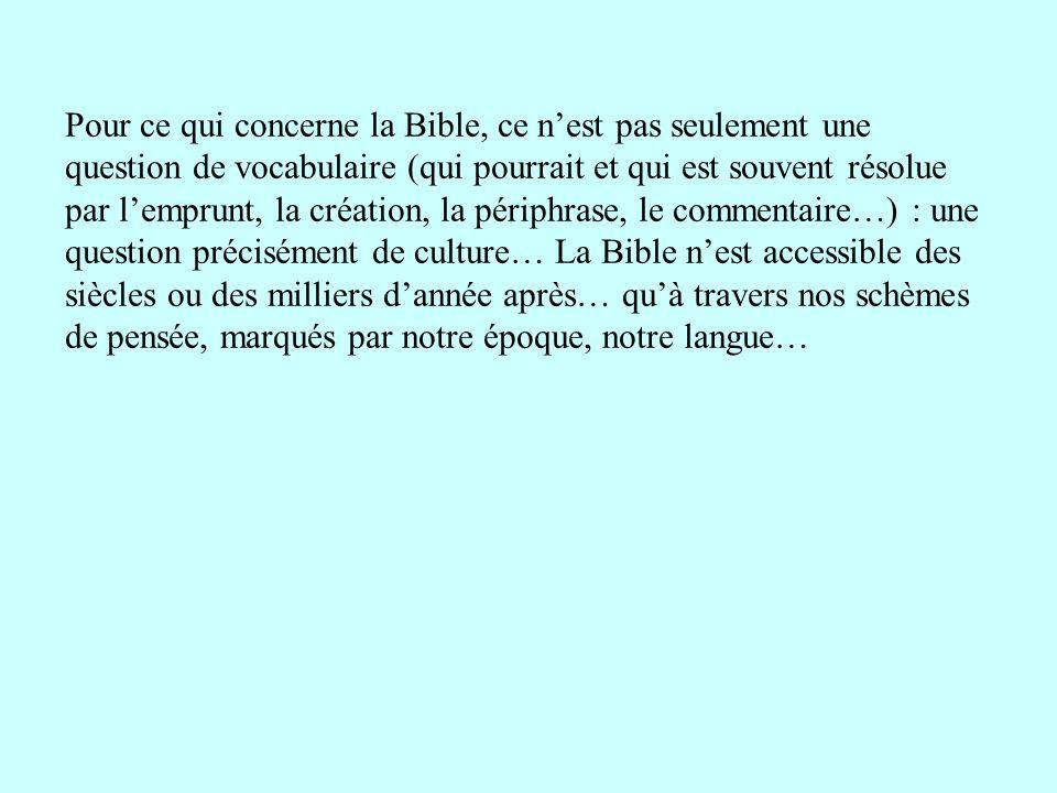 Pour ce qui concerne la Bible, ce nest pas seulement une question de vocabulaire (qui pourrait et qui est souvent résolue par lemprunt, la création, l