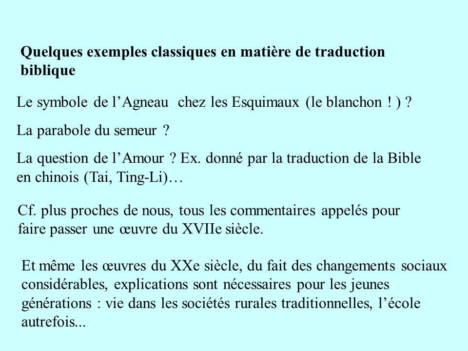 Quelques exemples classiques en matière de traduction biblique Le symbole de lAgneau chez les Esquimaux (le blanchon ! ) ? La parabole du semeur ? La