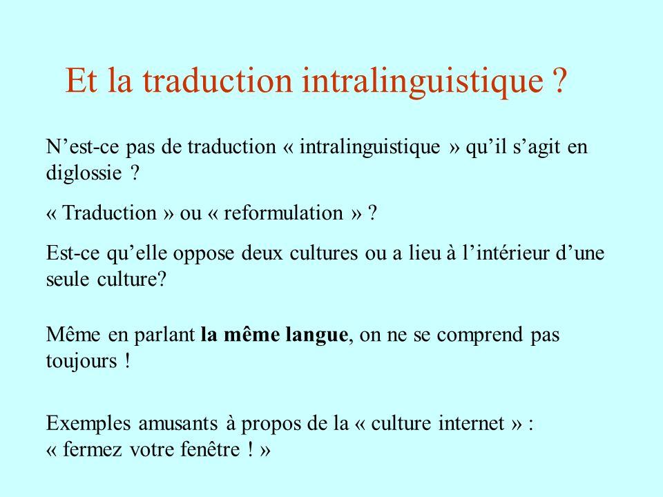 Et la traduction intralinguistique ? Nest-ce pas de traduction « intralinguistique » quil sagit en diglossie ? « Traduction » ou « reformulation » ? E