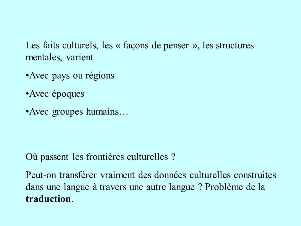 Les faits culturels, les « façons de penser », les structures mentales, varient Avec pays ou régions Avec époques Avec groupes humains… Où passent les
