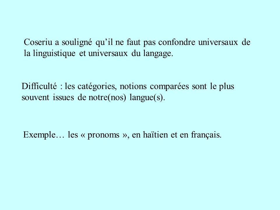 Coseriu a souligné quil ne faut pas confondre universaux de la linguistique et universaux du langage. Difficulté : les catégories, notions comparées s