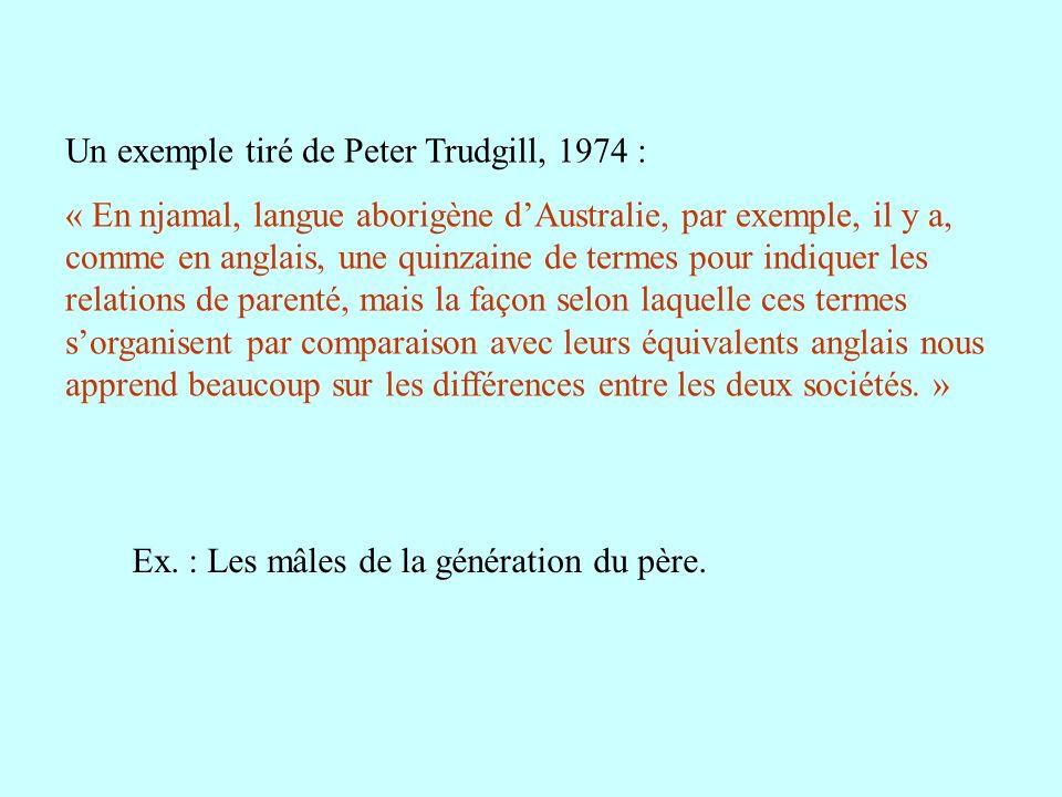 Un exemple tiré de Peter Trudgill, 1974 : « En njamal, langue aborigène dAustralie, par exemple, il y a, comme en anglais, une quinzaine de termes pou