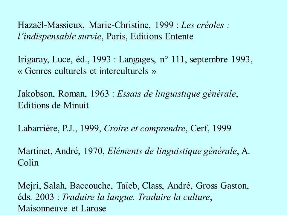 Hazaël-Massieux, Marie-Christine, 1999 : Les créoles : lindispensable survie, Paris, Editions Entente Irigaray, Luce, éd., 1993 : Langages, n° 111, se