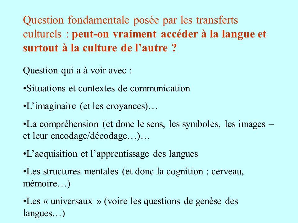 Question fondamentale posée par les transferts culturels : peut-on vraiment accéder à la langue et surtout à la culture de lautre ? Question qui a à v