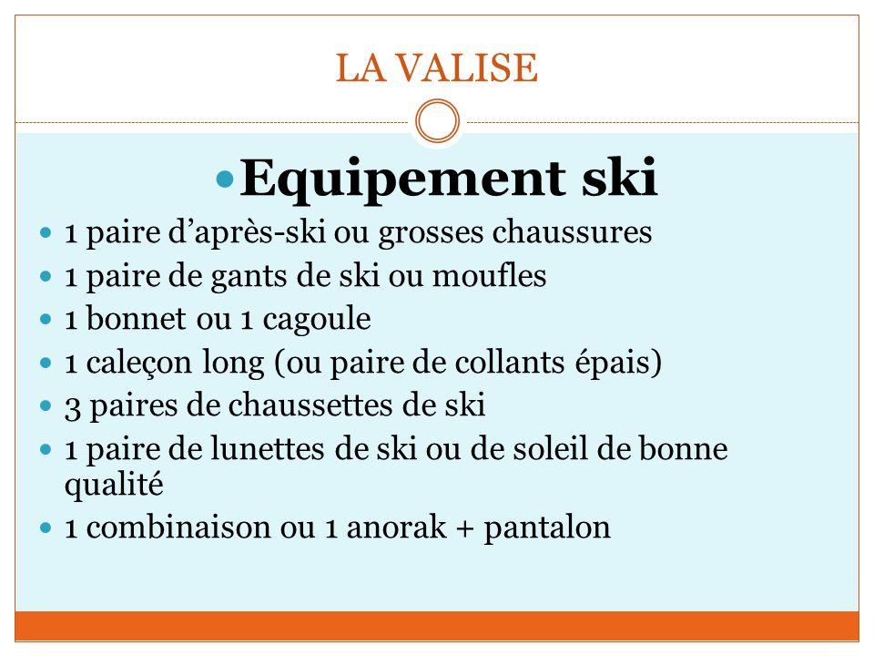 LA VALISE Equipement ski 1 paire daprès-ski ou grosses chaussures 1 paire de gants de ski ou moufles 1 bonnet ou 1 cagoule 1 caleçon long (ou paire de