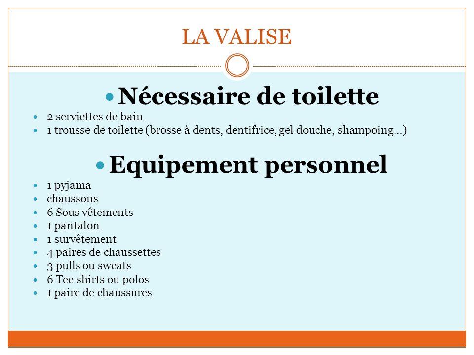 LA VALISE Nécessaire de toilette 2 serviettes de bain 1 trousse de toilette (brosse à dents, dentifrice, gel douche, shampoing…) Equipement personnel