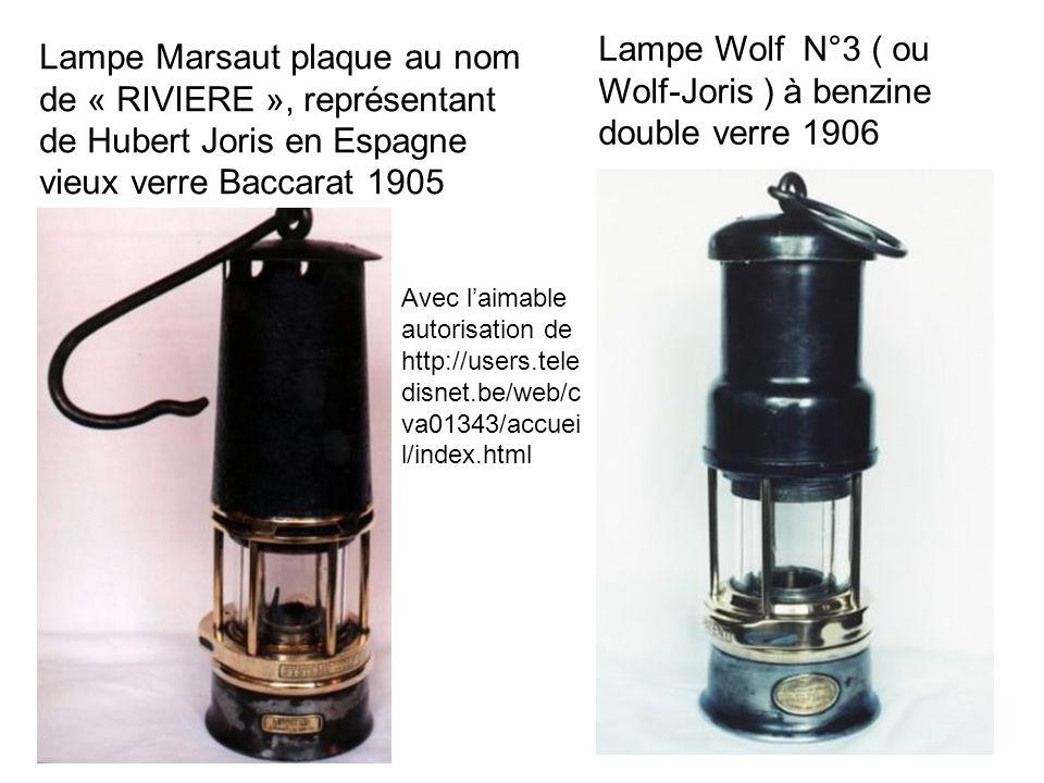 Lampe Marsaut plaque au nom de « RIVIERE », représentant de Hubert Joris en Espagne vieux verre Baccarat 1905 Lampe Wolf N°3 ( ou Wolf-Joris ) à benzi