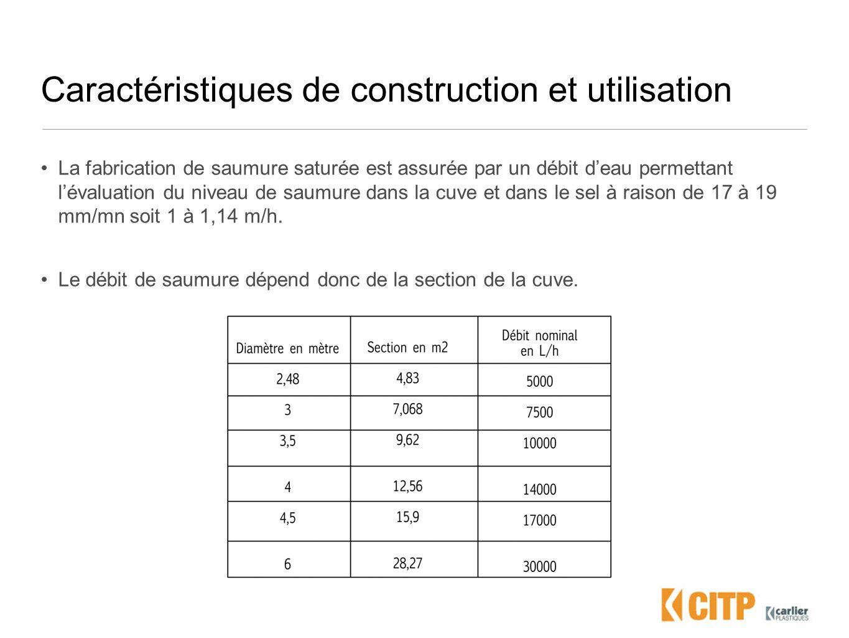 Caractéristiques de construction et utilisation La fabrication de saumure saturée est assurée par un débit deau permettant lévaluation du niveau de sa