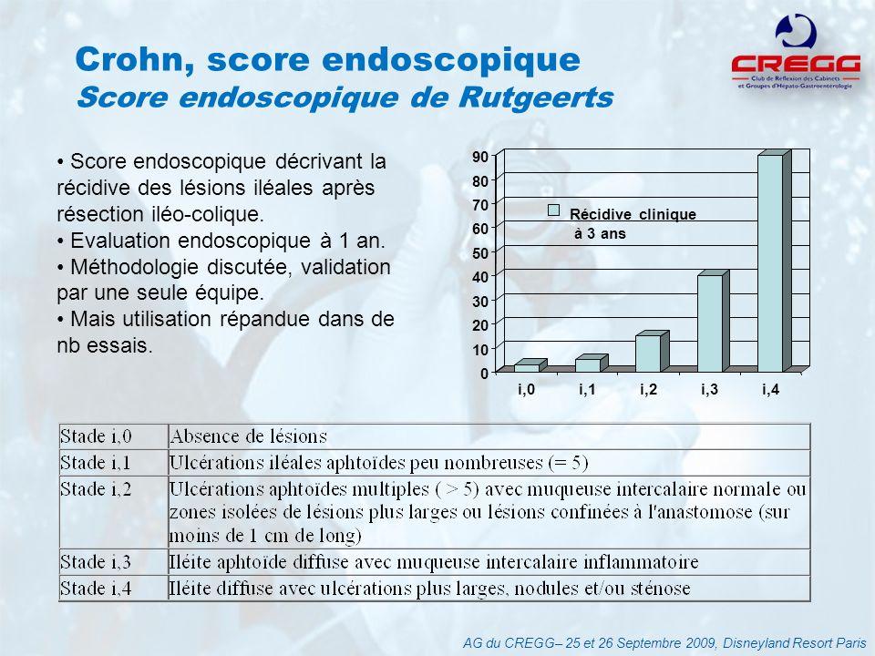 Score clinique et endoscopique dans la RCH Index dactivité endoscopique de Rachmilewitz AG du CREGG– 25 et 26 Septembre 2009, Disneyland Resort Paris