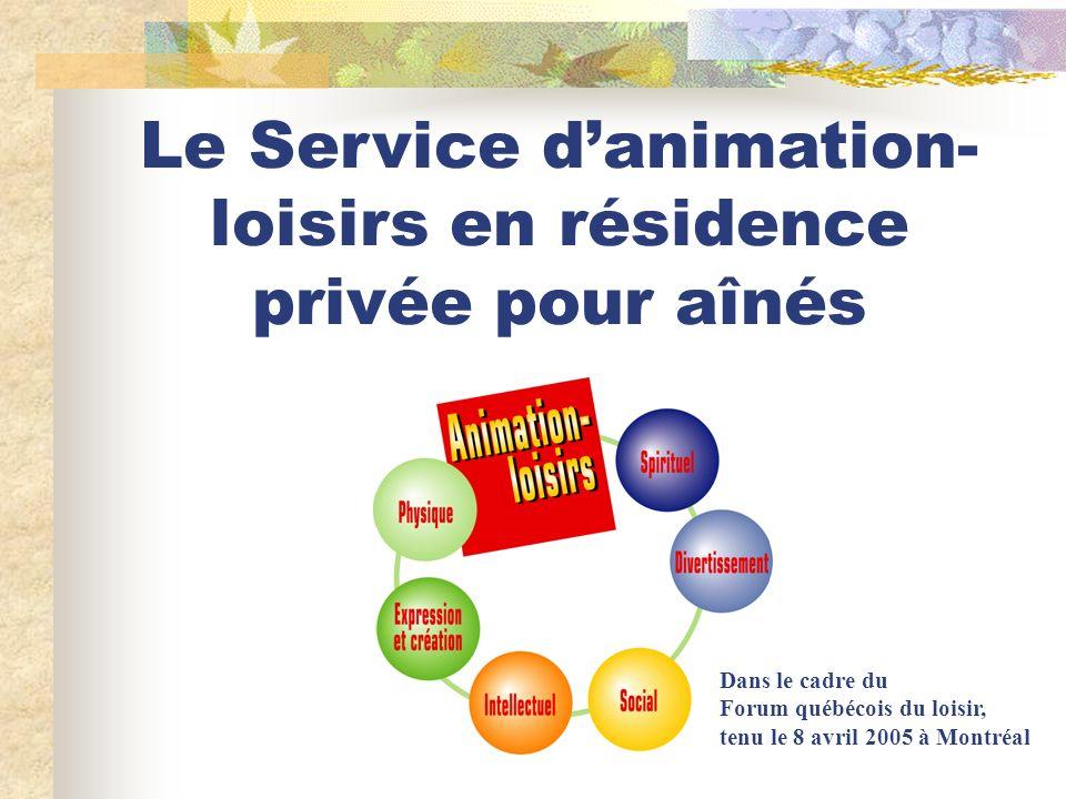 Le Service danimation- loisirs en résidence privée pour aînés Dans le cadre du Forum québécois du loisir, tenu le 8 avril 2005 à Montréal