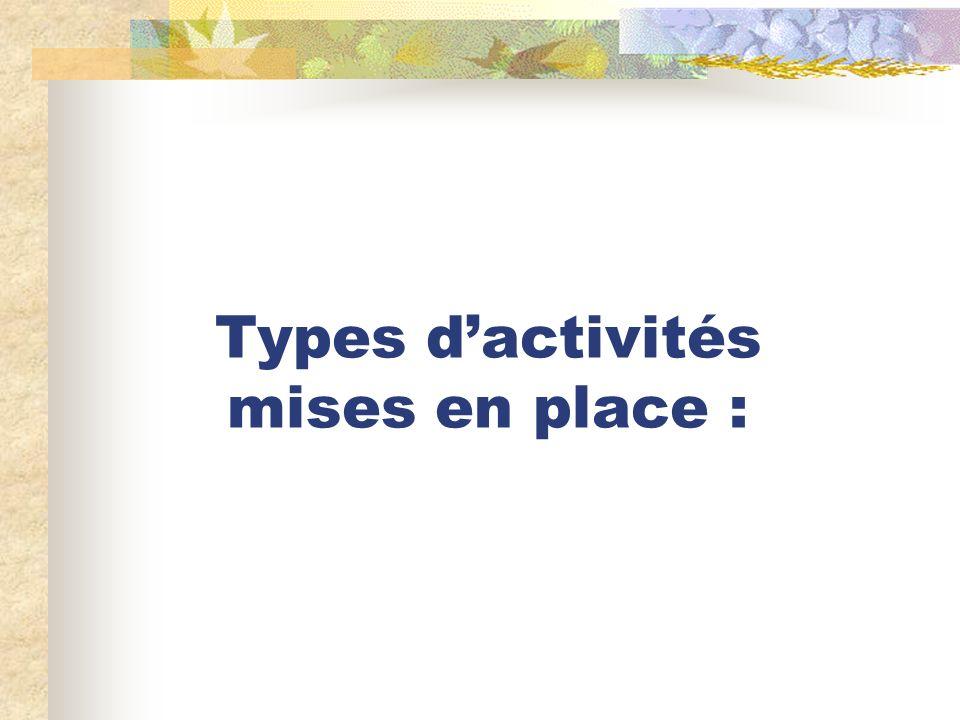 Types dactivités mises en place :