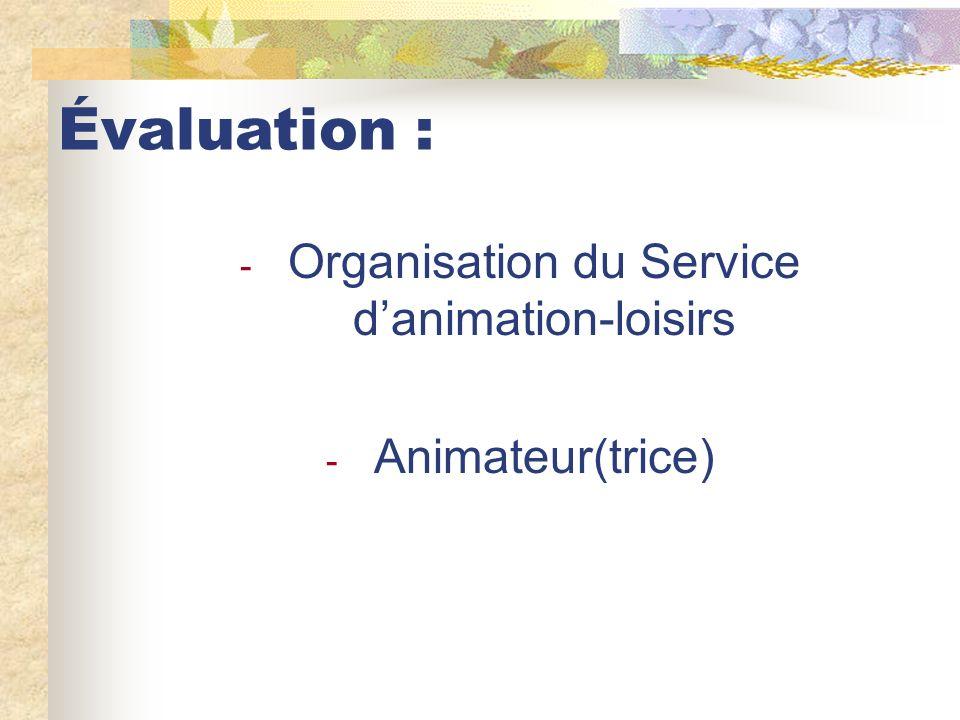 Évaluation : - Organisation du Service danimation-loisirs - Animateur(trice)