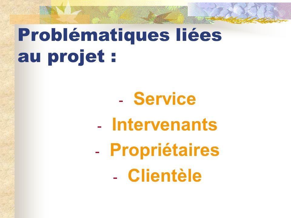 Problématiques liées au projet : - Service - Intervenants - Propriétaires - Clientèle
