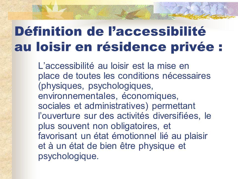 Définition de laccessibilité au loisir en résidence privée : Laccessibilité au loisir est la mise en place de toutes les conditions nécessaires (physi