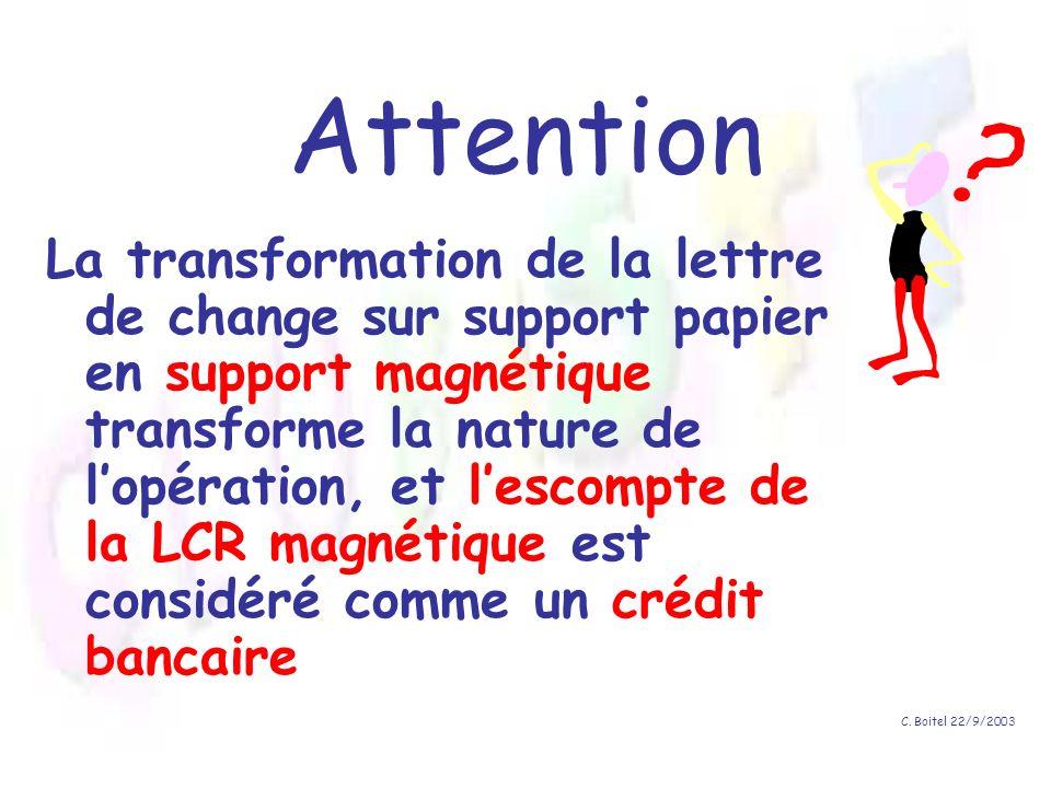C. Boitel 22/9/2003 Attention La transformation de la lettre de change sur support papier en support magnétique transforme la nature de lopération, et