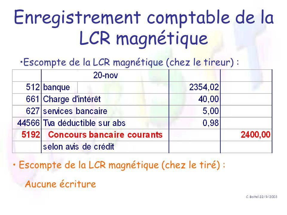 C. Boitel 22/9/2003 Enregistrement comptable de la LCR magnétique Escompte de la LCR magnétique (chez le tireur) : Escompte de la LCR magnétique (chez