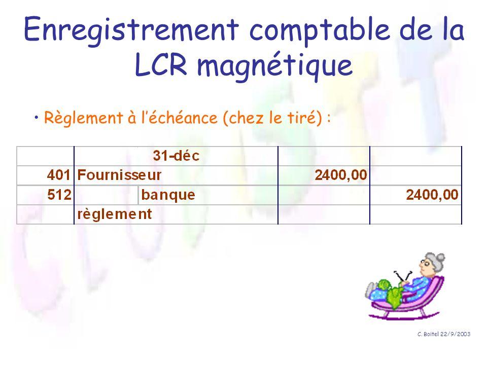 C. Boitel 22/9/2003 Enregistrement comptable de la LCR magnétique Règlement à léchéance (chez le tiré) :