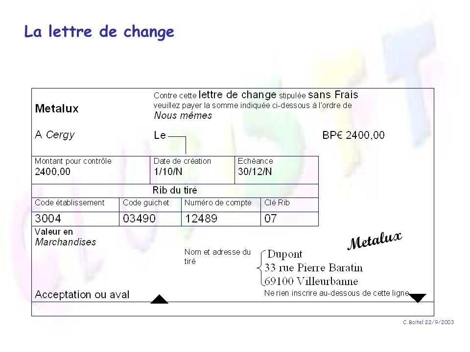 C. Boitel 22/9/2003 La lettre de change Metalux