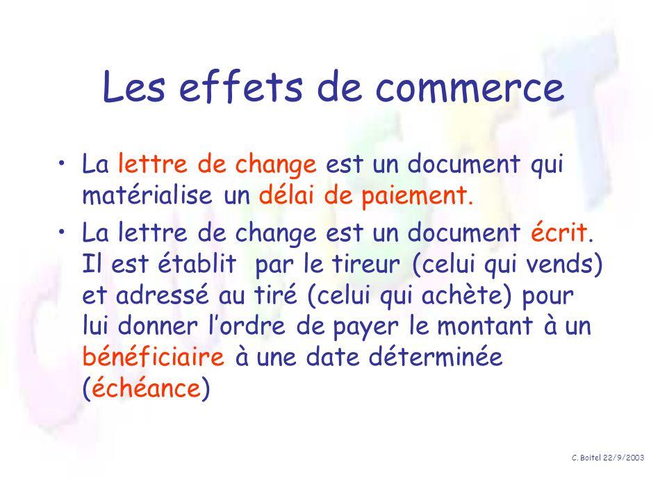 C. Boitel 22/9/2003 Les effets de commerce La lettre de change est un document qui matérialise un délai de paiement. La lettre de change est un docume
