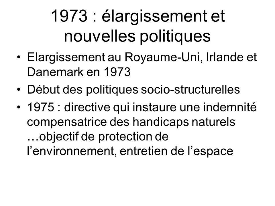 1973 : élargissement et nouvelles politiques Elargissement au Royaume-Uni, Irlande et Danemark en 1973 Début des politiques socio-structurelles 1975 :