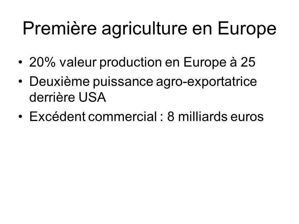 Première agriculture en Europe 20% valeur production en Europe à 25 Deuxième puissance agro-exportatrice derrière USA Excédent commercial : 8 milliard