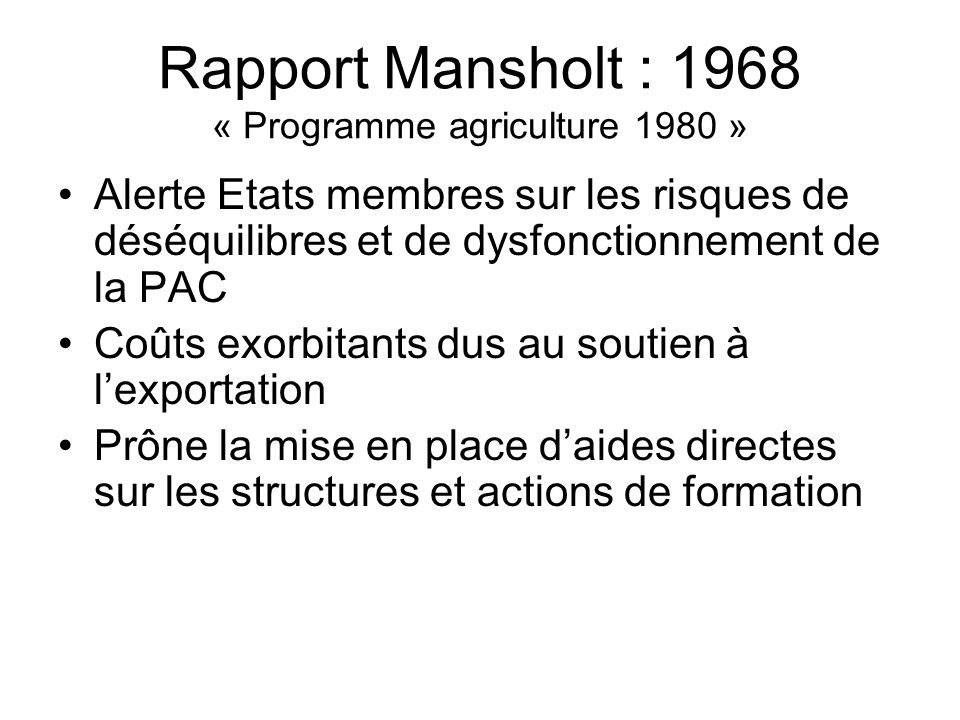 Rapport Mansholt : 1968 « Programme agriculture 1980 » Alerte Etats membres sur les risques de déséquilibres et de dysfonctionnement de la PAC Coûts e