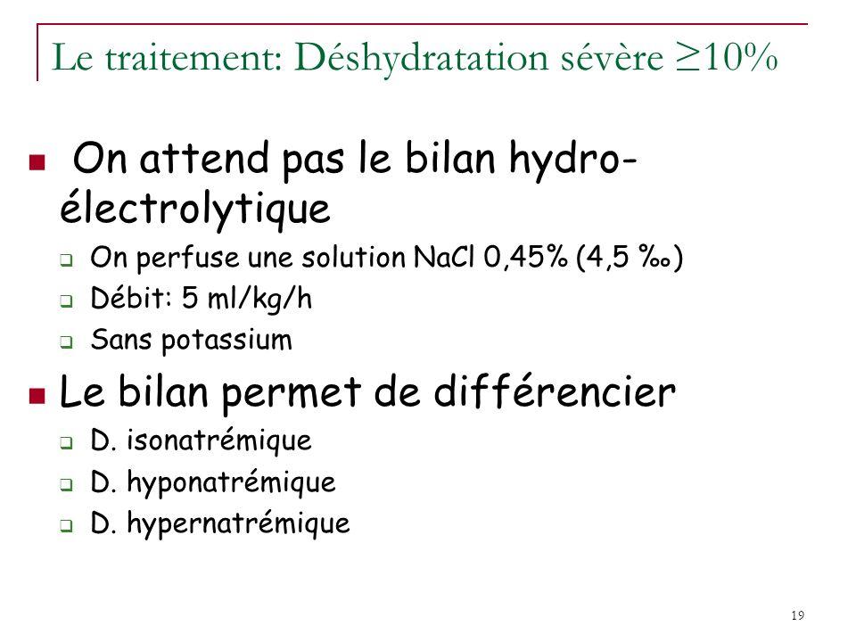 19 Le traitement: Déshydratation sévère 10% On attend pas le bilan hydro- électrolytique On perfuse une solution NaCl 0,45% (4,5 ) Débit: 5 ml/kg/h Sans potassium Le bilan permet de différencier D.